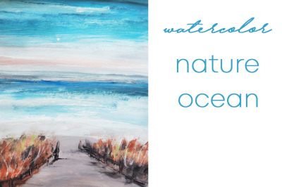 watercolor nature and landscape with sea and ocean