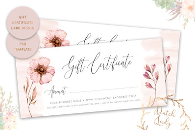Gift Certificate Template - Single Sided #1