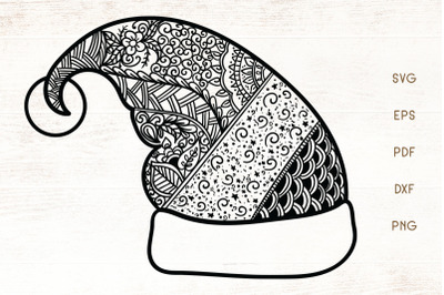 Santa Hat Zentangle SVG - Christmas Hat Doodle Art SVG