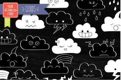 Clouds Kawaii White | Hand Drawn Cute Weather Outline Illustration