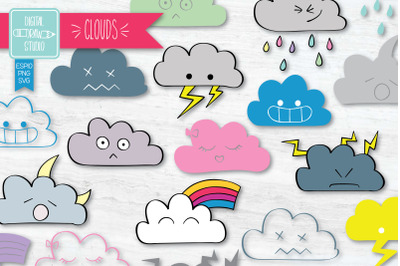 Clouds Kawaii Color | Hand Drawn Cute Weather Outline Illustration