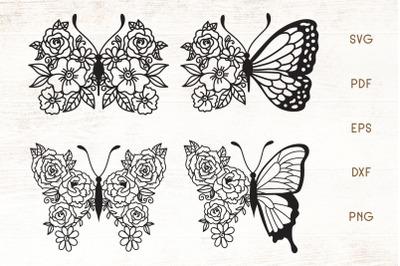 Flower Butterfly SVG - Vector