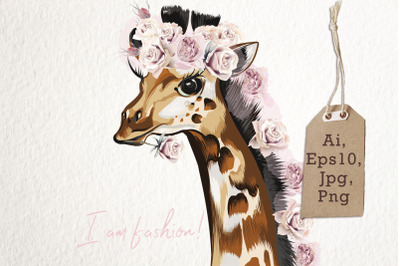 Fashion vector giraffe in roses