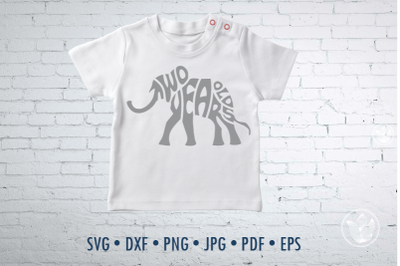 Baby Elephant Two Years Old, svg, png, eps, Cut file