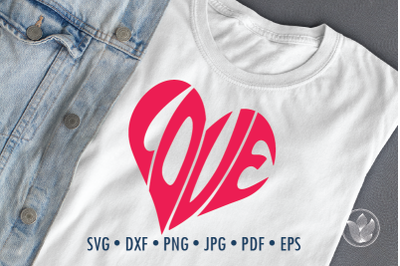 Love Word Art, heart Svg Dxf Eps Png Jpg