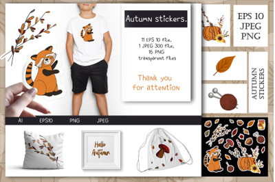 Autumn stickers. 1 EPS 10 file, 1 JPEG 300 file, 16 PNG transparent fi
