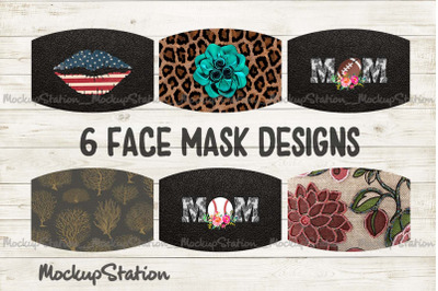 Face Mask Designs Bundle, Cheetah Mom Floral Sublimation PNG