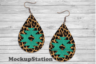 Earring Sublimation Design PNG, Aztec Turquoise Faux Leather Look