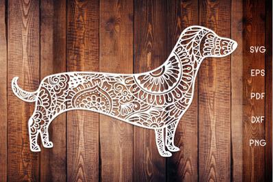 Dachshund Dog Zentangle SVG - Dog Mandala
