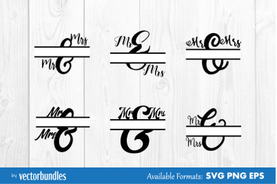 Ampersand split mr and mrs svg