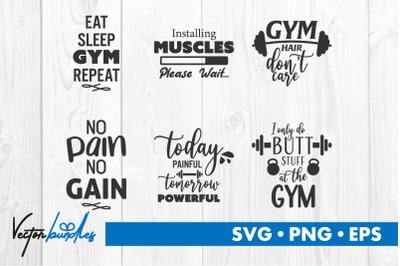 Gym fitness quote bundle svg