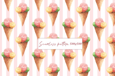 Ice cream seamless pattern 3