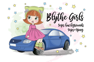 BLYTHE GIRLS Doll Cartoon Baby Vector Illustration Set for Print