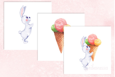 Bunny with ice cream