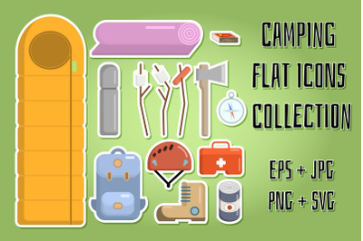 Camping Flat Icons Collection