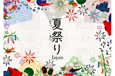 watercolor full set of japan summer festivals