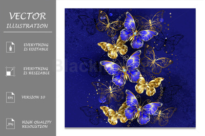 Composition with Sapphire Butterflies