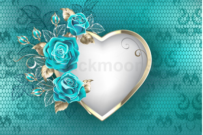 Heart with Roses on Lace Background