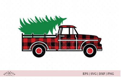 Plaid Vintage Christmas Truck SVG files