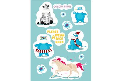 Funny, cute stickers. Coronavirus