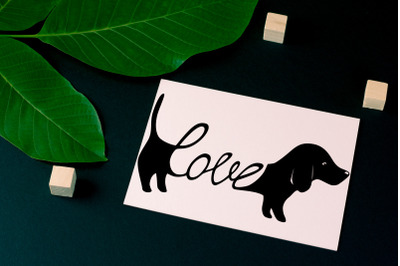 Dachshund Love: greeting card template + SVG
