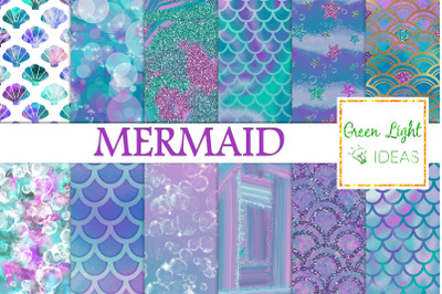 Mermaid Digital Papers, Undersea Backgrounds, Fantasy Iridiscent Foil
