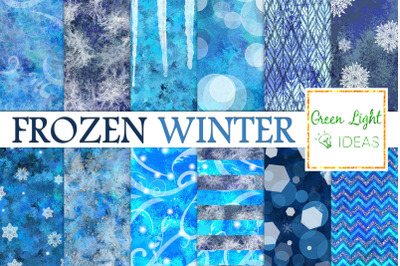 Frozen Winter Digital Papers, Snowflakes Backgrounds, Icy Snow Papers