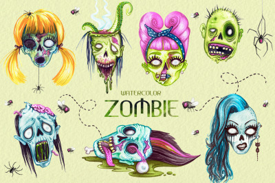 Watercolor Zombie Heads