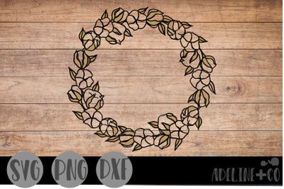 Cotton wreath, SVG, PNG, DXF