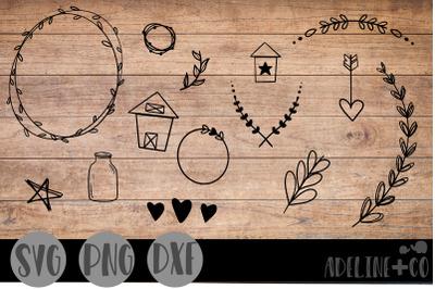 Farmhouse doodles, SVG, PNG, DXF