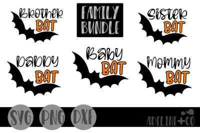 Bat family, bundle, SVG, PNG, DXF
