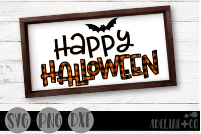 Happy Halloween, plaid, svg, png, dxf