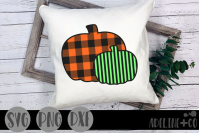 Pumpkins, plaid and striped, SVG, PNG, DXF