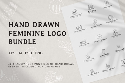 Hand Drawn Feminine Logo Bundle