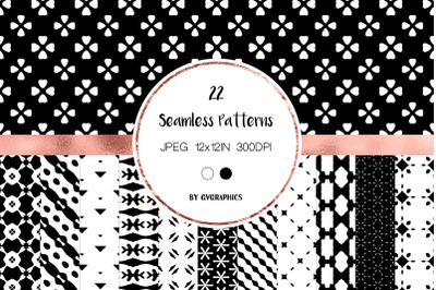 22 Black and White Simple Abstract Seamless Patterns