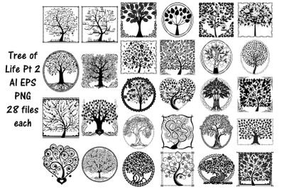 Tree of Life Silhouettes AI EPS PNG Pt. 2
