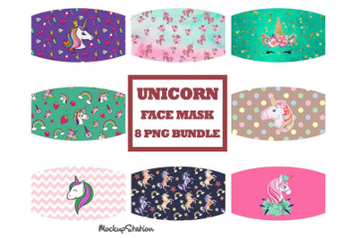 Unicorn Face Mask Sublimation Designs Bundle, Kids Face Cover PNG