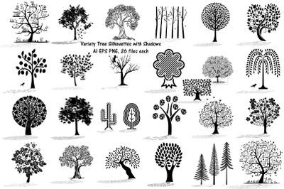 Tree Silhouettes w/Shadows AI EPS PNG