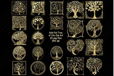 Gold Foil Tree of Life Clip Art
