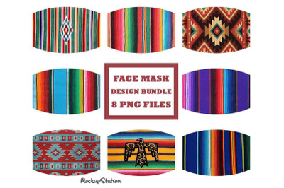 Serape Face Mask Sublimation Design Bundle, Southwest Aztec Navajo PNG