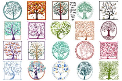 Variety Tree of Life ClipArt, Glitter, Cardstock, ETC.