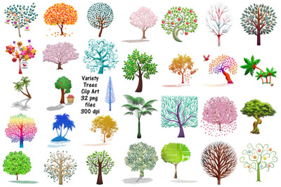 Tree Variety ClipArt (Watercolor, Glitter, Etc.)
