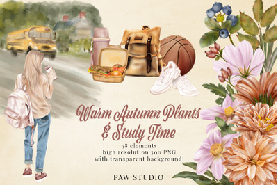 Fall Floral Clipart. Girls. Back To School. Autumn Plants. Study Time