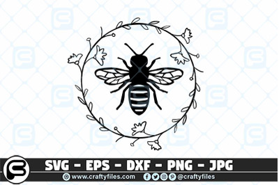 Bee  SVG Arounded by laurel floral SVG, Bee Happy SVG
