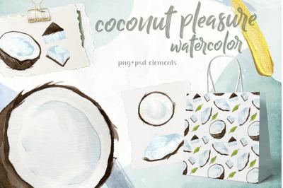 Coconut watercolor elements