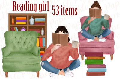 Book Clipart,Girl with book,Reading Girl,Book Graphics,Book