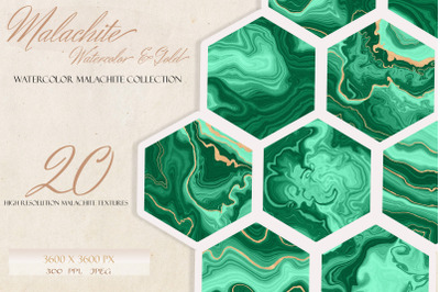 Malachite & Gold Textures, Set of 20 Watercolor Geode Textures with Go