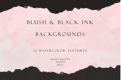 Blush and ink watercolor backgrounds
