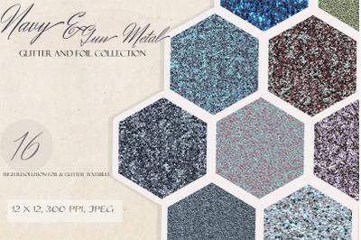 Navy & Metal Gun Glitter Foil Collection