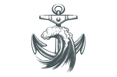 Anchor with Ocean Wave Tattoo Illustration